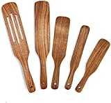 Wooden Spurtles Set of 5 Piece Spurtle Set Teak Kitchen Tool, Spoons For Cooking, Slotted Spurtle Spatula Sets For Stirring, Mixing, Serving Non-Stick Kitchen Tools (5) As Seen On TV