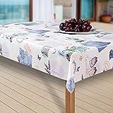 laro Wachstuch-Tischdecke Abwaschbar Garten-Tischdecke Wachstischdecke PVC Plastik-Tischdecken Eckig Meterware Wasserabweisend Abwischbar AQ, Größe:90-90 cm, Muster:Lavendel, blau/lila