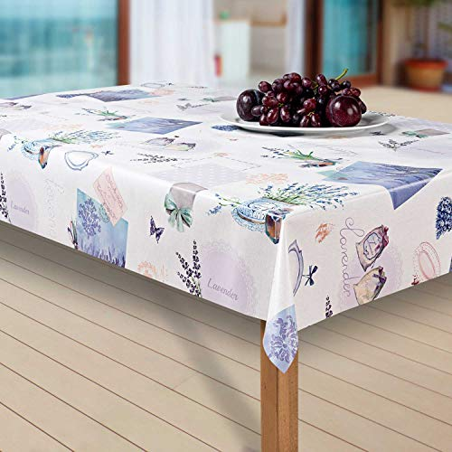 laro Wachstuch-Tischdecke Abwaschbar Garten-Tischdecke Wachstischdecke PVC Plastik-Tischdecken Eckig Meterware Wasserabweisend Abwischbar AQ, Größe:100-160 cm, Muster:Lavendel, blau/lila