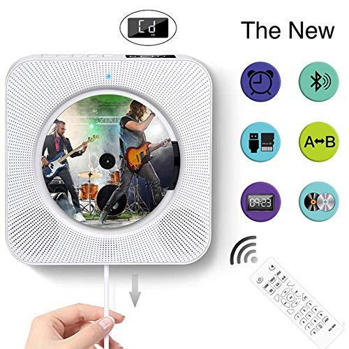 YWT wandgemonteerde cd-speler met Bluetooth, draagbare cd-muziekspeler met ingebouwde HiFi-luidspreker, met afstandsbediening, ondersteuning voor USB SD-kaart AUX-ingang en -uitgang