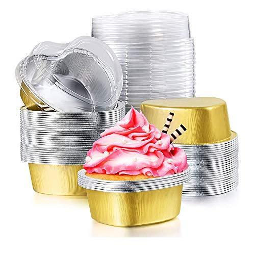 Silikon Cupcake Form, 50 Stück Tasse Mini Pudding Tassen, Herzförmiger Cupcake Cup, mit Transparentem Deckel Für Kuchenflan-Backbecher, Valentinstag, Muttertag, Hochzeit (Golden)