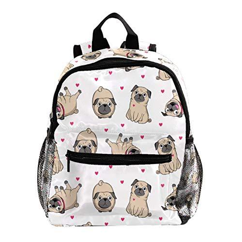 Mochila escolar para niñas con correa para la escuela, mochila para niñas de primaria, diseño de carlino