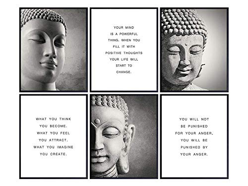 Inspirational Buddhism Quotes Set - Zen Home Decoration Wall Art Decor for Living Room, Yoga Studio, Office - Unique New Age Gift for Buddhist, Meditation Instructor - 8x10 Buddha Prints
