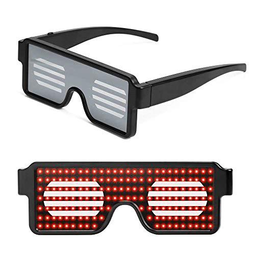 Queta LED Gafas Luminosas Gafas de Persianas, LED Luz Gafas de Patrones Dinámicos Multicolores, Gafas de Neón Inalámbricas USB Recargable para Fiestas Halloween Discoteca Carnaval Birthday (Rojo)