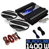 electronic star Set HiFi Auto Black Line 220' Enceintes ampli Voiture 1400W
