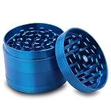 Colourful 4 Piece Metal Tobacco Grinder Herb Spice Grinder Zinc Alloy Rainbow Metal Grinder… (Blue)