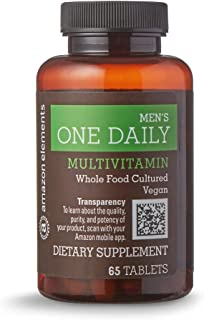 Amazon Elements Men's One Daily Multivitamin, 62% Whole Food Cultured, Vegan, 65 Tablets, 2 month supply