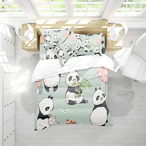 RIXI Copripiumino Panda Carino Set Biancheria da Letto Animali Dipinti A Mano,per Camera Letto Ragazzo/Ragazza,1 Copripiumini con 2 Federe (3PCS) O Lenzuola (4PCS) (03,Matrimoniale(4pcs))