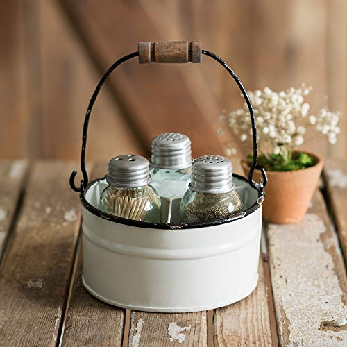 Attractive and Graceful Round Bucket Salt Pepper and Toothpick Shakers Caddy Set - White. Rustic Farmhouse Table Decor, Vintage Home Decoration, Restaurants and Gift.