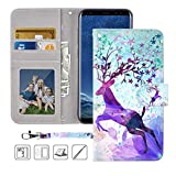 Galaxy S8 Wallet Case, Galaxy S8 Case,MagicSky Premium PU Leather Flip Folio Case Cover with Wrist Strap, Card Holder, Cash Pocket,Kickstand for Samsung Galaxy S8 - Colorful Deer