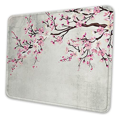 Kegill Japanese Cherry Blossom Gaming Mouse Pad,Square Non-Slip Rubber Mousepad with Stitched Edges, Cute Keyboard Mouse Mat for Work Game Office Home Men Women Kids