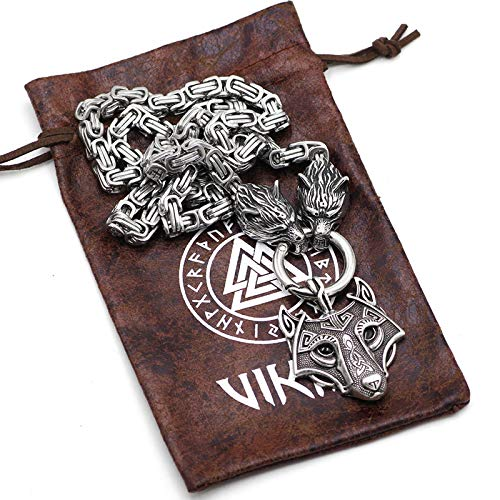 Edelstahl Viking Wolf Kopf Anhänger, Wolf König Halskette, Handgemachte Vintage-Stil Religiösen Amulett, Box Mann - Freund