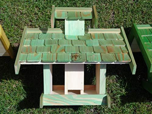 Vogelhaus+Ständer-Futterhaus-K-BEL-VOVIL4-MS-moos002 Großes PREMIUM-Qualität,Vogelhaus,KOMPLETT mit Ständer wetterfest lasiert, WETTERFEST, QUALITÄTS-Standfuß-aus 100% Vollholz, Holz Futterhaus für Vögel, MIT FUTTERSCHACHT Futtervorrat, Vogelfutter-Station Farbe grün moosgrün lindgrün natur/grün, Ausführung Naturholz MIT TIEFEM WETTERSCHUTZ-DACH für trockenes Futter - 7