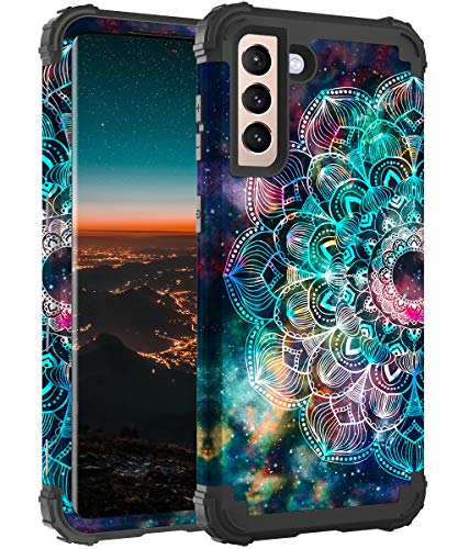 Hocase for Galaxy S21 Case, Heavy Duty Shockproof Soft Silicone Rubber Bumper+Hard Plastic Hybrid Protective Case for Samsung Galaxy S21 5G (6.2-inch Display) 2021 - Mandala in Galaxy