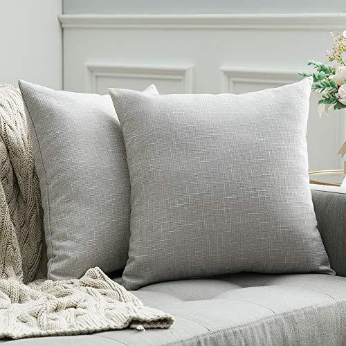 MIULEE 2er Pack Leinenoptik Home Dekorative Kissenbezug Kissenhülle Kissenbezug für Sofa Schlafzimmer mit Reißverschlüsse 50 x 50 cm Weiß und Grau