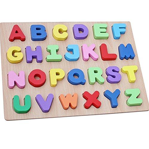 WONZOM 積み木 パズル アルファベット 知育 玩具 幼児 子供 教育 教材 木のおもちゃ ブロック パズル 木製 ...
