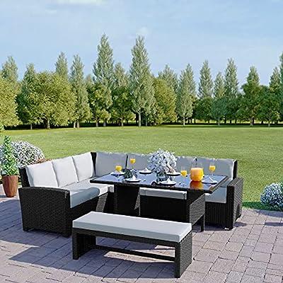 Abreo Outdoor 9 Seater Corner Sofa Rattan Dining Set