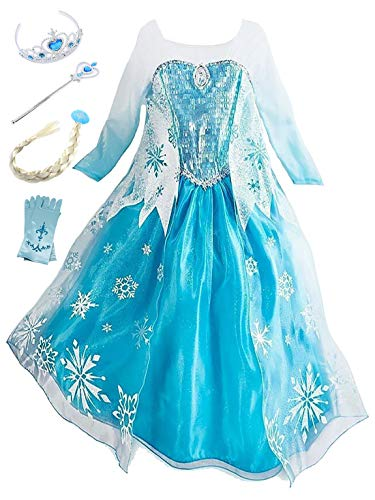 Beunique Niña Frozen Vestido de Disfraz Princesa Elsa Cumpleaños Regalo 3- 8 Años Vestido de Noche Corona Varita Mágica Navidad Halloween Carnaval Cosplay