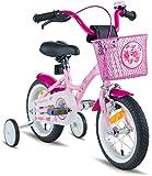 Rad PROMETHEUS Kinderfahrrad 12 Zoll Mädchen in Rosa Lila & Weiß mit Stützrädern | Seitenzugbremse und Rücktrittbremse | ab 3 Jahren | 12