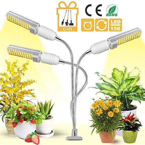 LED Pflanzenlampe, Garpsen Pflanzenlicht, Vollspektrum Pflanzenleuchte, 3 Heads 156 LEDsSunlight Led Grow Lampe mitTimer für Zimmerpflanzen, Gewächshaus, Garten