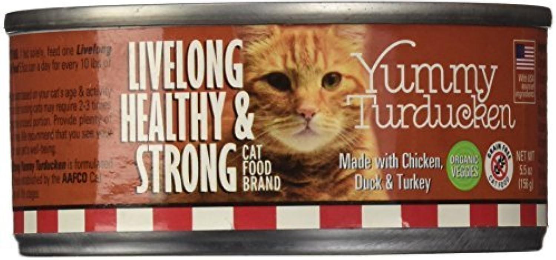 LiveLong Healthy Strong Yummy Turducken Cat Can with 90% Meat, 5.5 oz, 24 Cans by LiveLong Healthy Strong