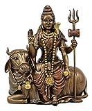"Ebros The Auspicious One Lord Shiva Sitting On Nandi Bull Statue 7"" Tall Hindu Mahadeva Omniscient Yogi Altar Sculpture Figurine Home Accent"