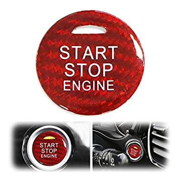 iJDMTOY Gloss Red Real Carbon Fiber Keyless Engine Start/Stop Push Start Button Cover w/Indicator Light Opening Compatible With 2014-up Mitsubishi Outlander or Outlander Sport