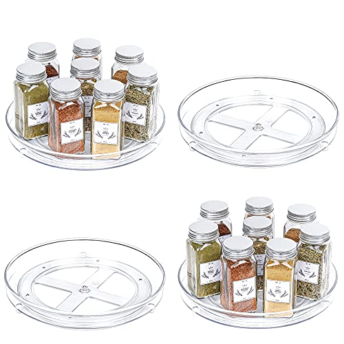 Vtopmart Clear Lazy Susan Organizer, 4 Pack Turntable Lazy Susan Spice Rack for Cabinets Kitchen, Countertop, Bathroom, Makeup, Pantry Organization and Storage, 9 Inches