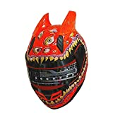 Malushun Full Face Motorcycle Helmet Venom Racing off road Street Helmet With Horns Orange (M)