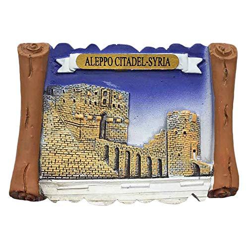 wedaredai Syrien Aleppo Zitadelle 3D Kühlschrankmagnet Tourist Souvenir Reise Aufkleber, Syrien Kühlschrank Magnet, Haus und Küche Dekoration Kollektion von China