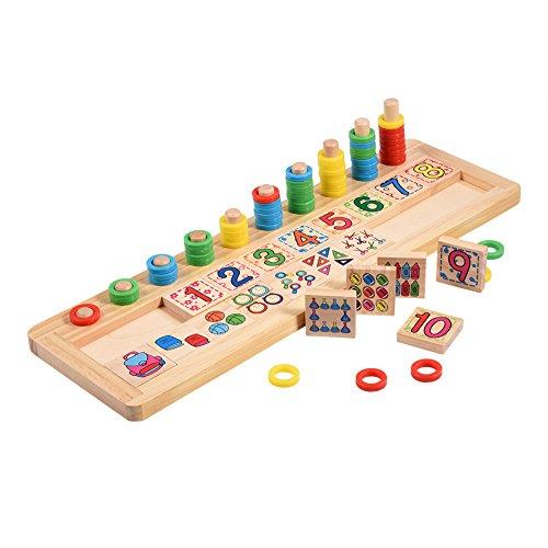 Zerodis Rompecabezas educativos y de aprendizaje de madera Juguete matemático educativo Juguete número Rompecabezas Contando juguetes de cumpleaños Regalo de Navidad para niños Niños Niños pequeños