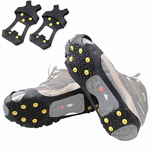 Shaddock Fishing Ice Crampons Snow Ice Cleats Ice Grips, 10-Stud Traction Cleat Anti Slip Spike Shoes Stretch Footwear Walking on Ice and Snow(Large)