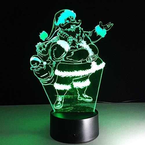 Santa Claus Shape 3D Nightlight 7 Cambio de color Usb 3D Lámpara Touch Table Decoraciones de regalo de Navidad para el hogar