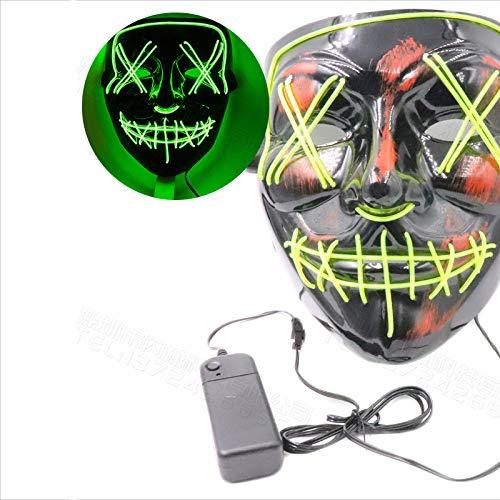 SMAQZ Halloween-Glühmaske-SchwarzesV-Wort Mit Blutschrecken,Led-Maske.Grün Fluoreszierende_BlutVWort Gabel Augenmaske Schlitzdüse