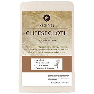 Cheesecloth, Grade 50, 36 Sq Feet, Reusable, 100% Unbleached Cotton Fabric, Ultra Fine Cheesecloth for Cooking - Nut Milk Bag, Strainer, Filter (Grade 50 - 4Yards)