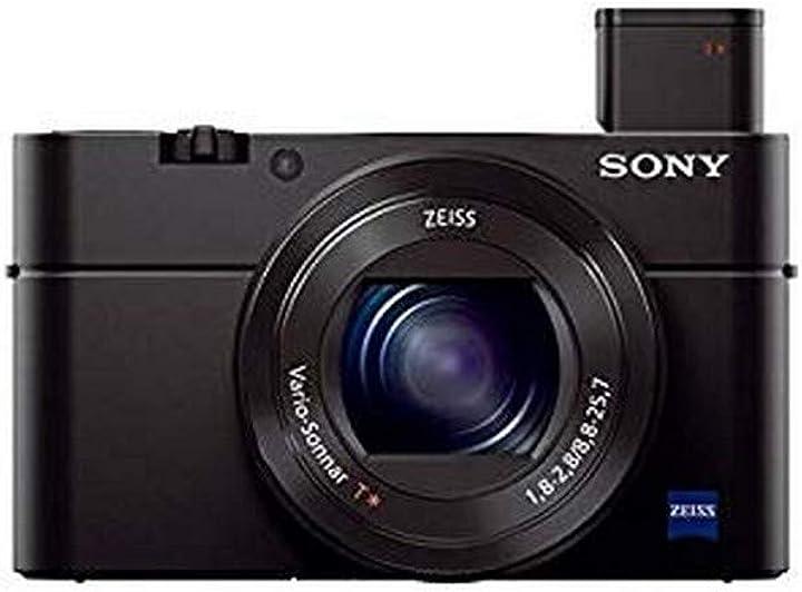 Fotocamera digitale compatta sonyrx100 iii sensore da 1.0 ottica 24-70mm f1.8-2.8 zeiss schermo lcd regolabile DSCRX100M3.CE3