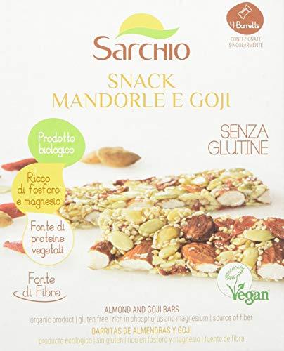 Sarchio Snack Mandorle e Goji - biologico - senza Glutine - 4 barrette da 20 g