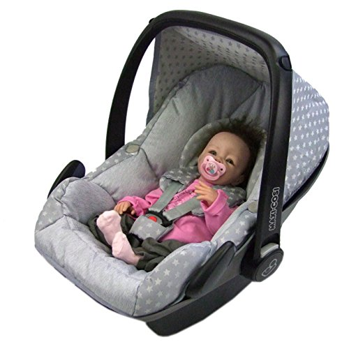BAMBINIWELT Ersatzbezug für Maxi-Cosi PEBBLE 5-tlg, Bezug für Babyschale, Komplett-Set STERNE HELLGRAU XX