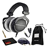 Beyerdynamic DT 770 Pro 250 Ohm Closed-Back Studio Mixing Headphones Bundle -Includes- Soft Case, Headphone Splitter and Extension Cable, and 6AVE Cleaning Cloth