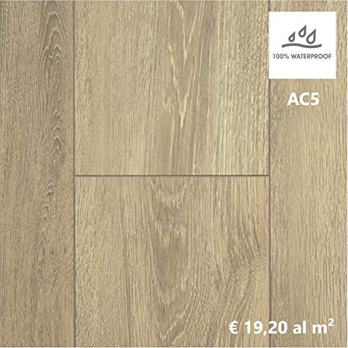 Pavimento Laminato per Bagno e Cucina, Confezione da 2,110m²/AC5 Spessore 8mm, Liberty Rovere Chiaro