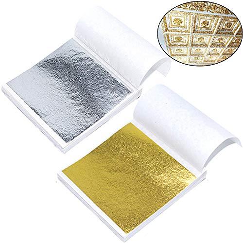 Xinlie Lote hoja de oro Hojas Pan de Oro de Imitación para Artes Grande Hoja de Plata Papel de Oro de Imitación para Artes para el arte Manualidades Decoración Dorado Elaboración de Marcos (200 Hojas)