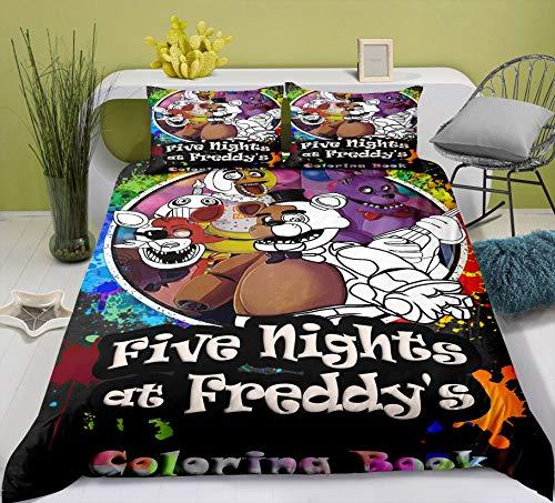 YOMOCO FNAF Five Nights at Freddy's Juego de ropa de cama – Funda nórdica y dos fundas de almohada, microfibra, impresión digital 3D de tres piezas (08,135 x 200 cm)