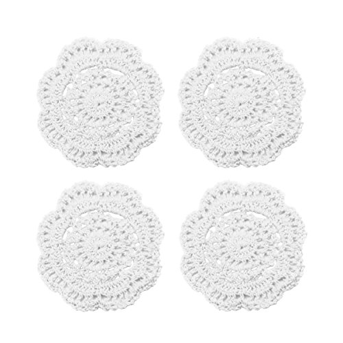 Phantomon Lace Round Crochet Doilies Handmade Coasters Vintage Style Table Placemats, 4-Inch, Pack of 4 (White)