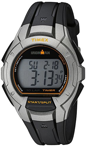 Timex Men's TW5K93700 Ironman Essential 10 Silver-Tone/Black Resin Strap Watch