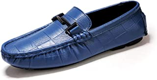 ZiWen Lu Driving Loafers for Men Boat Shoes Slip On PU Upper Experienced Stitched Metal Ring Decor Super Flexible Lug Sole Plaid Pattern (Color : Blue, Size : 11 UK)