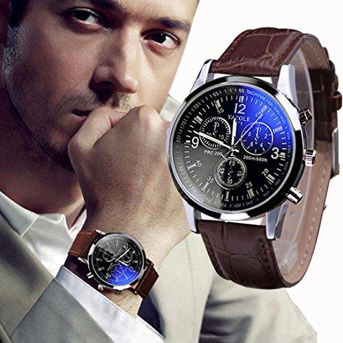 Yogogo Herren Quartz Analog Ray Armband , 1 Cent Artikel Armbanduhr | Lederband | Dekoration | Sportuhr | Geschenk | Alugehäuse | Quarzwerk | 24cm Bandlänge (Braun)