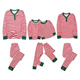 Alueeu Pijamas de Navidad Padre Madre Bebé Camiseta Impresión de Rayas con Estampado Casual Homewear Manga Larga Tops y Pantalones Largos Vacaciones