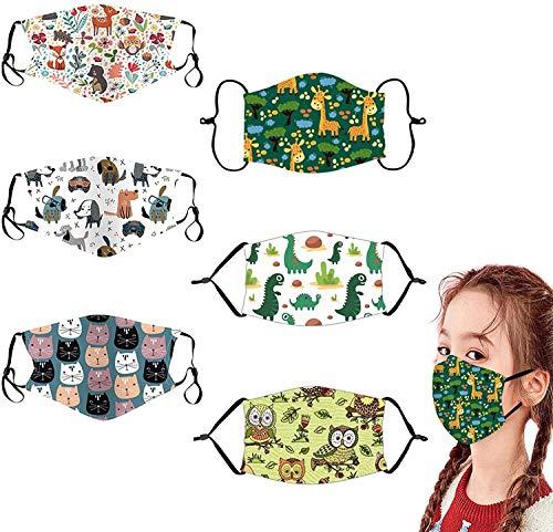GXZOCK 6 piezas Reutilizables Niños Cara Lavables Algodón facial Unisex para Interiores y Exteriores (Cartoon)
