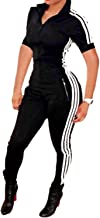 Bodycon4U Women's Sexy Zipper Short Sleeve Sport Fitness Workout Bodycon Jumpsuit Romper Unitard