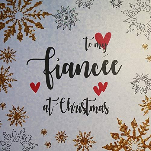 "White Cotton Cards XF2-FF - Tarjeta de Navidad (hecha a mano), diseño con texto""To my Fiancée at Christmas"""